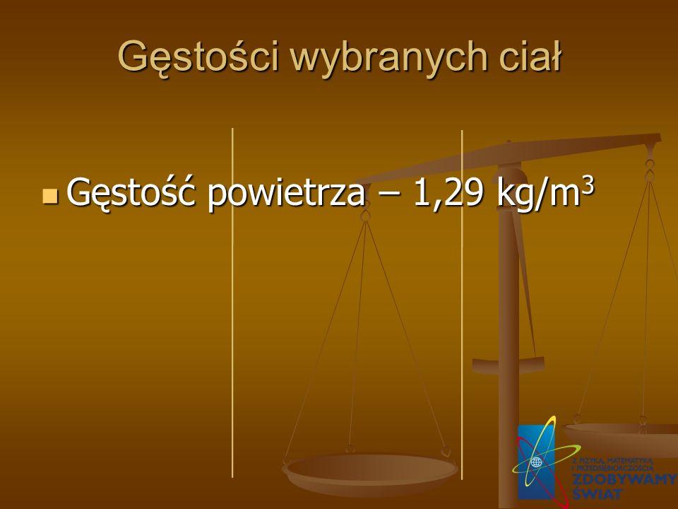 Gęstości wybranych ciał Gęstość powietrza – 1,29 kg/m 3 Gęstość powietrza – 1,29 kg/m 3