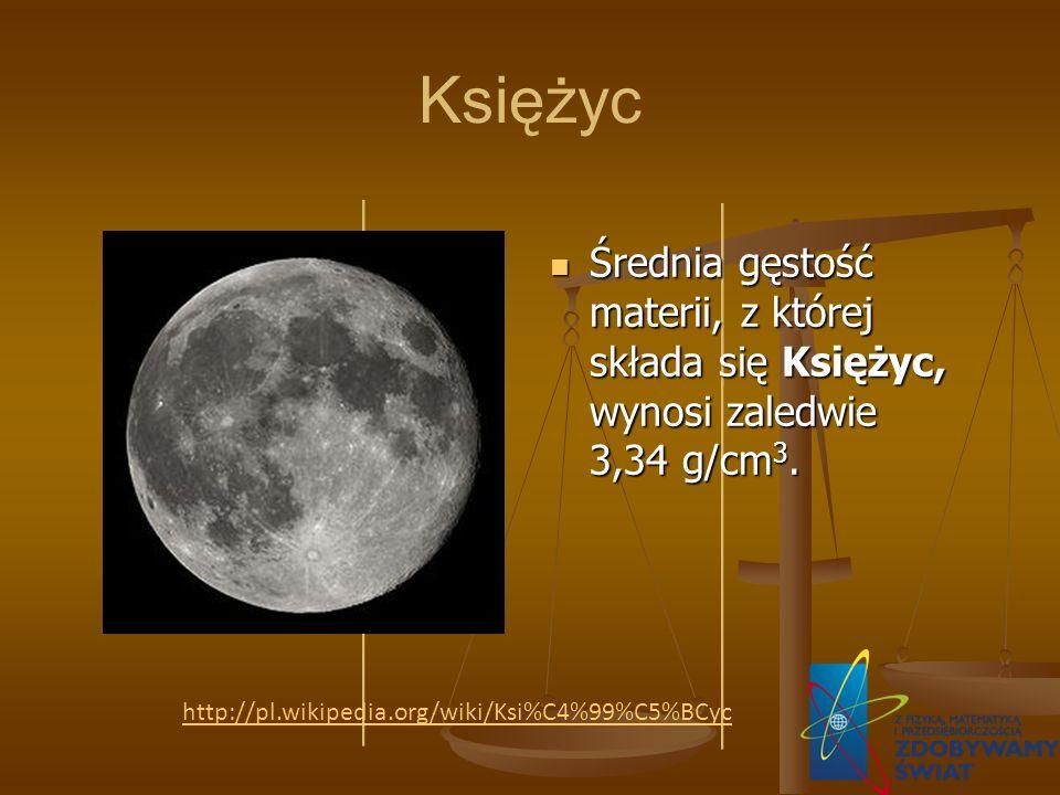 Księżyc Średnia gęstość materii, z której składa się Księżyc, wynosi zaledwie 3,34 g/cm 3. http://pl.wikipedia.org/wiki/Ksi%C4%99%C5%BCyc