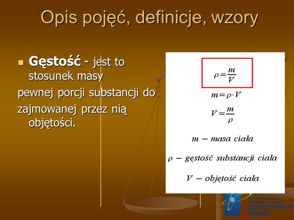 Opis pojęć, definicje, wzory Opis pojęć, definicje, wzory Gęstość - jest to stosunek masy Gęstość - jest to stosunek masy pewnej porcji substancji do