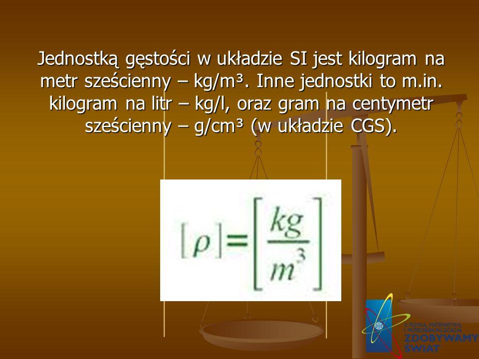 Jednostką gęstości w układzie SI jest kilogram na metr sześcienny – kg/m³. Inne jednostki to m.in. kilogram na litr – kg/l, oraz gram na centymetr sze
