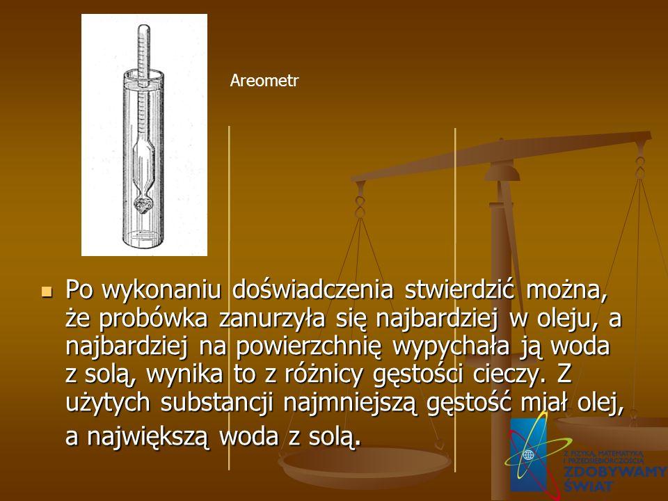 Po wykonaniu doświadczenia stwierdzić można, że probówka zanurzyła się najbardziej w oleju, a najbardziej na powierzchnię wypychała ją woda z solą, wy
