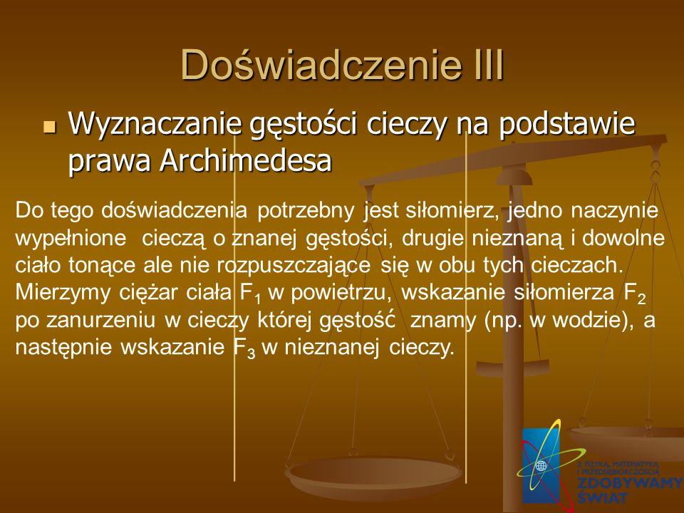 Doświadczenie III Wyznaczanie gęstości cieczy na podstawie prawa Archimedesa Wyznaczanie gęstości cieczy na podstawie prawa Archimedesa Do tego doświa