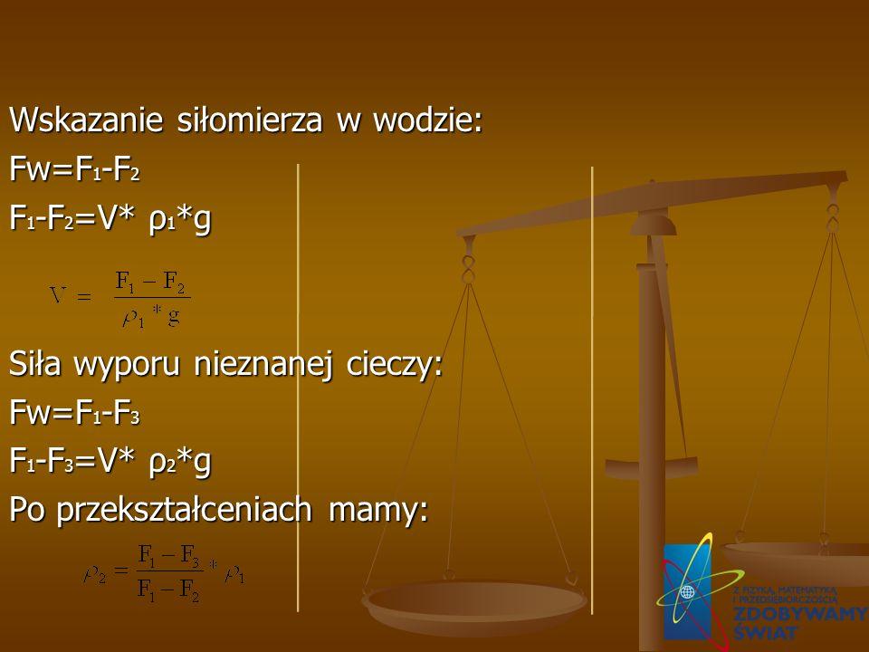 Wskazanie siłomierza w wodzie: Fw=F 1 -F 2 F 1 -F 2 =V* ρ 1 *g Siła wyporu nieznanej cieczy: Fw=F 1 -F 3 F 1 -F 3 =V* ρ 2 *g Po przekształceniach mamy