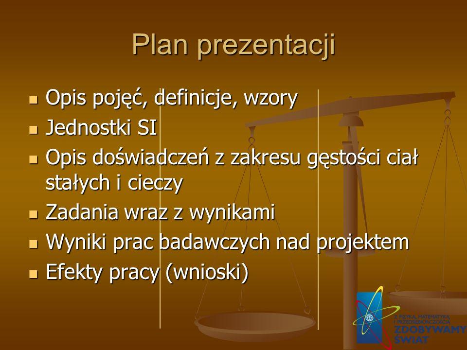 Plan prezentacji Opis pojęć, definicje, wzory Opis pojęć, definicje, wzory Jednostki SI Jednostki SI Opis doświadczeń z zakresu gęstości ciał stałych