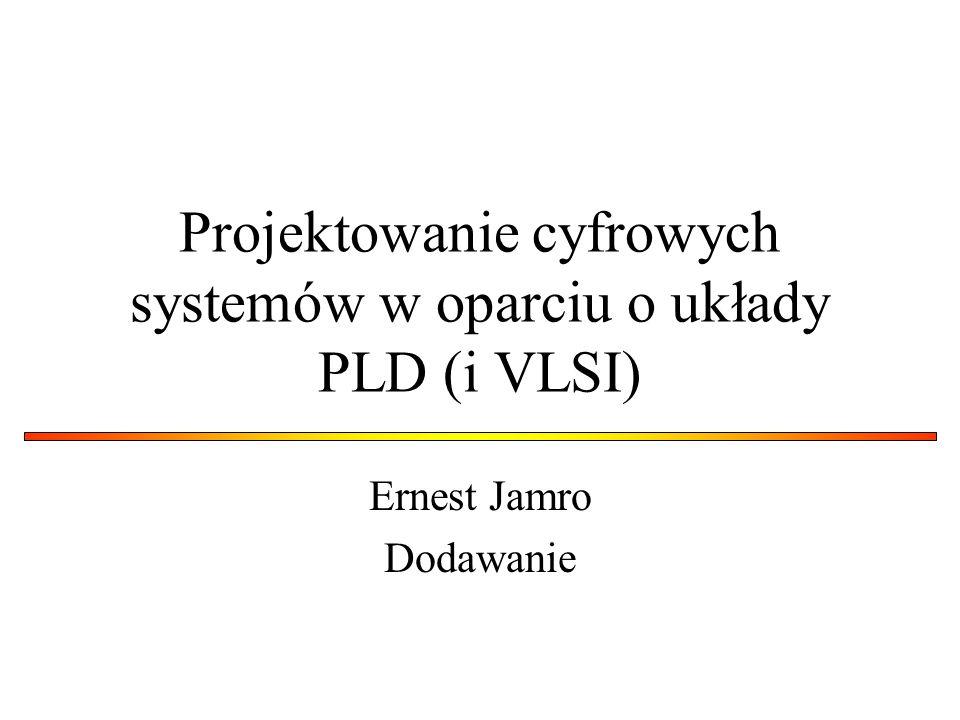 Projektowanie cyfrowych systemów w oparciu o układy PLD (i VLSI) Ernest Jamro Dodawanie