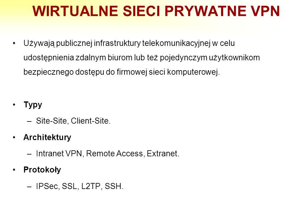 WIRTUALNE SIECI PRYWATNE VPN Używają publicznej infrastruktury telekomunikacyjnej w celu udostępnienia zdalnym biurom lub też pojedynczym użytkownikom