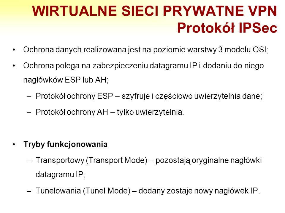 WIRTUALNE SIECI PRYWATNE VPN Protokół IPSec Ochrona danych realizowana jest na poziomie warstwy 3 modelu OSI; Ochrona polega na zabezpieczeniu datagra
