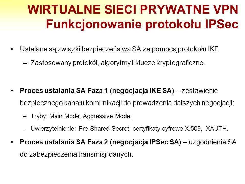 WIRTUALNE SIECI PRYWATNE VPN Funkcjonowanie protokołu IPSec Ustalane są związki bezpieczeństwa SA za pomocą protokołu IKE –Zastosowany protokół, algor