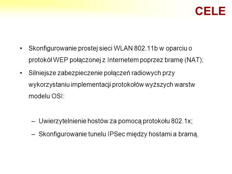 Skonfigurowanie prostej sieci WLAN 802.11b w oparciu o protokół WEP połączonej z Internetem poprzez bramę (NAT); Silniejsze zabezpieczenie połączeń ra
