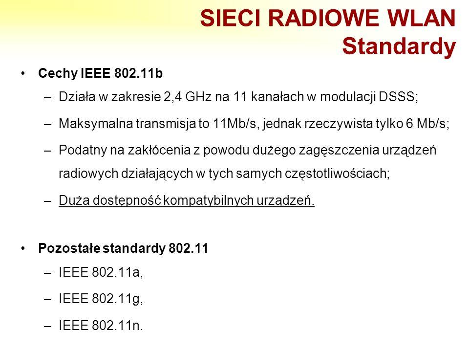 SIECI RADIOWE WLAN Standardy Cechy IEEE 802.11b –Działa w zakresie 2,4 GHz na 11 kanałach w modulacji DSSS; –Maksymalna transmisja to 11Mb/s, jednak r