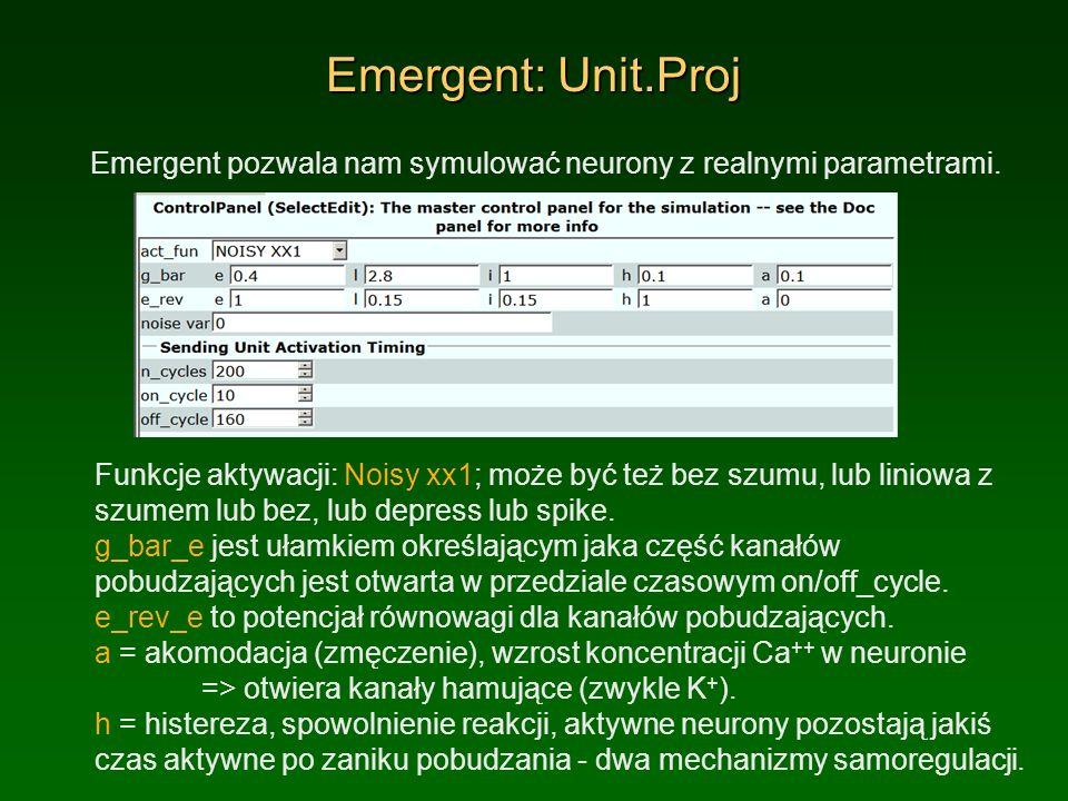 Emergent: Unit.Proj Emergent pozwala nam symulować neurony z realnymi parametrami. Funkcje aktywacji: Noisy xx1; może być też bez szumu, lub liniowa z