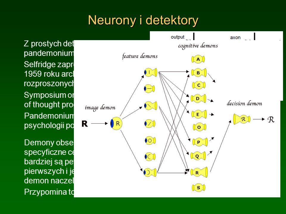Neurony i detektory Z prostych detektorów zbudujemy pandemonium: Selfridge zaproponował już w 1959 roku architekturę złożoną z rozproszonych elementów