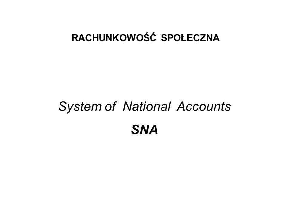 RACHUNKOWOŚĆ SPOŁECZNA System of National Accounts SNA