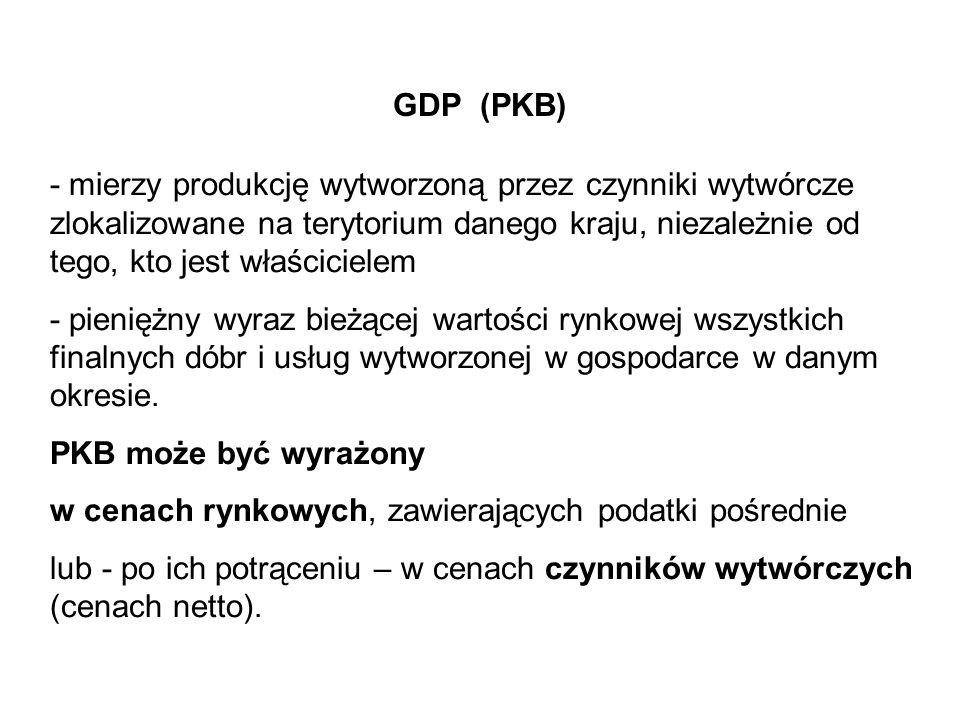 GDP (PKB) - mierzy produkcję wytworzoną przez czynniki wytwórcze zlokalizowane na terytorium danego kraju, niezależnie od tego, kto jest właścicielem