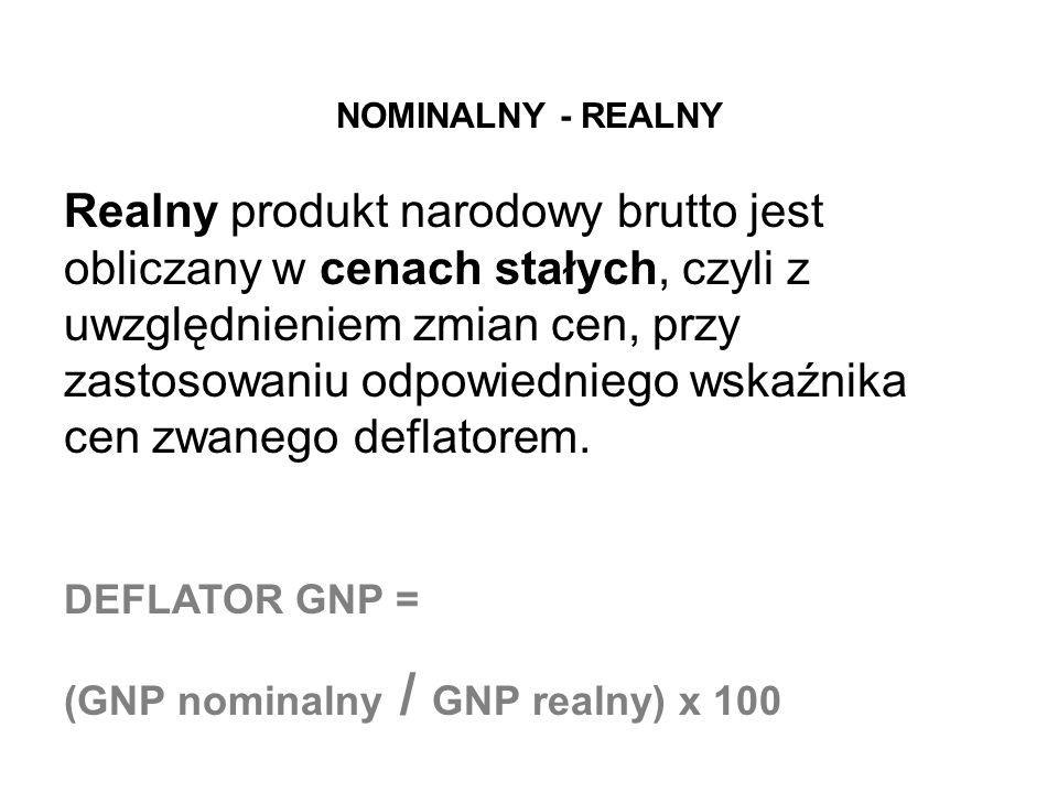 NOMINALNY - REALNY Realny produkt narodowy brutto jest obliczany w cenach stałych, czyli z uwzględnieniem zmian cen, przy zastosowaniu odpowiedniego w