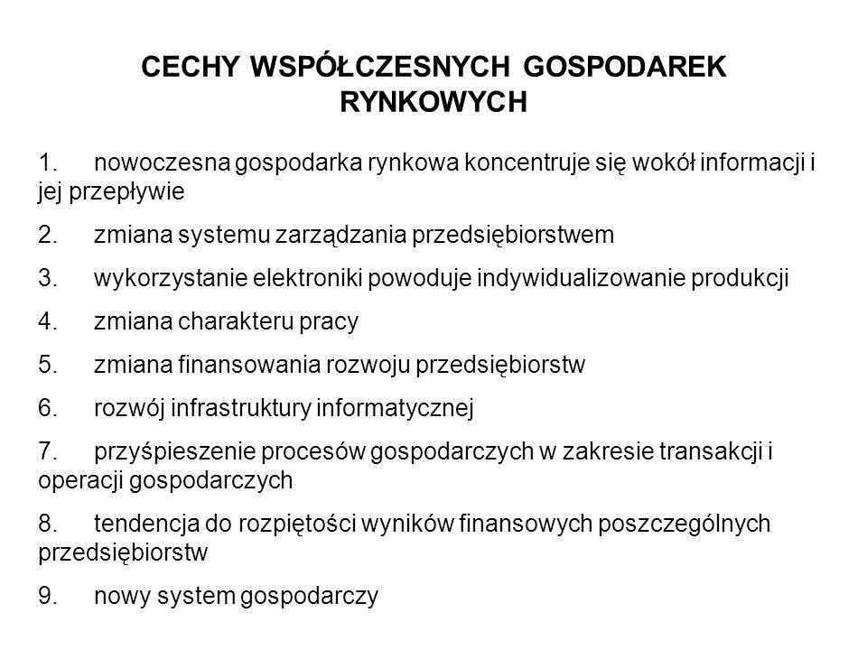 CECHY WSPÓŁCZESNYCH GOSPODAREK RYNKOWYCH 1. nowoczesna gospodarka rynkowa koncentruje się wokół informacji i jej przepływie 2. zmiana systemu zarządza