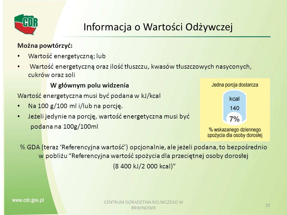 Informacja o Wartości Odżywczej Można powtórzyć: Wartość energetyczną; lub Wartość energetyczną oraz ilość tłuszczu, kwasów tłuszczowych nasyconych, c