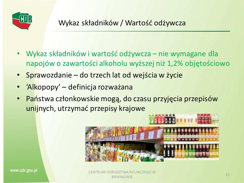 Wykaz składników / Wartość odżywcza Wykaz składników i wartość odżywcza – nie wymagane dla napojów o zawartości alkoholu wyższej niż 1,2% objętościowo