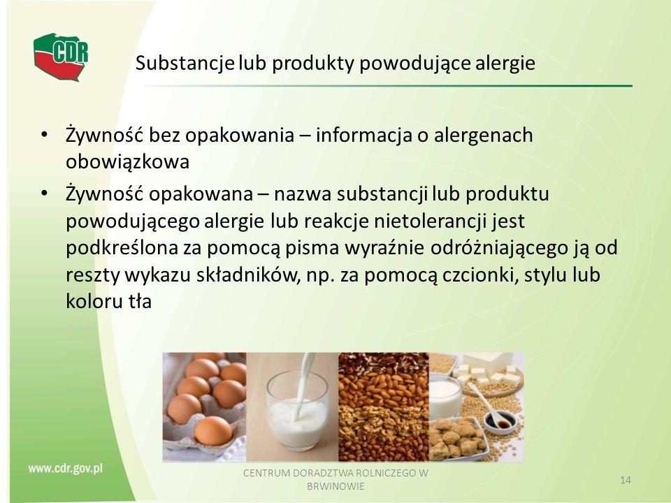 Substancje lub produkty powodujące alergie Żywność bez opakowania – informacja o alergenach obowiązkowa Żywność opakowana – nazwa substancji lub produ