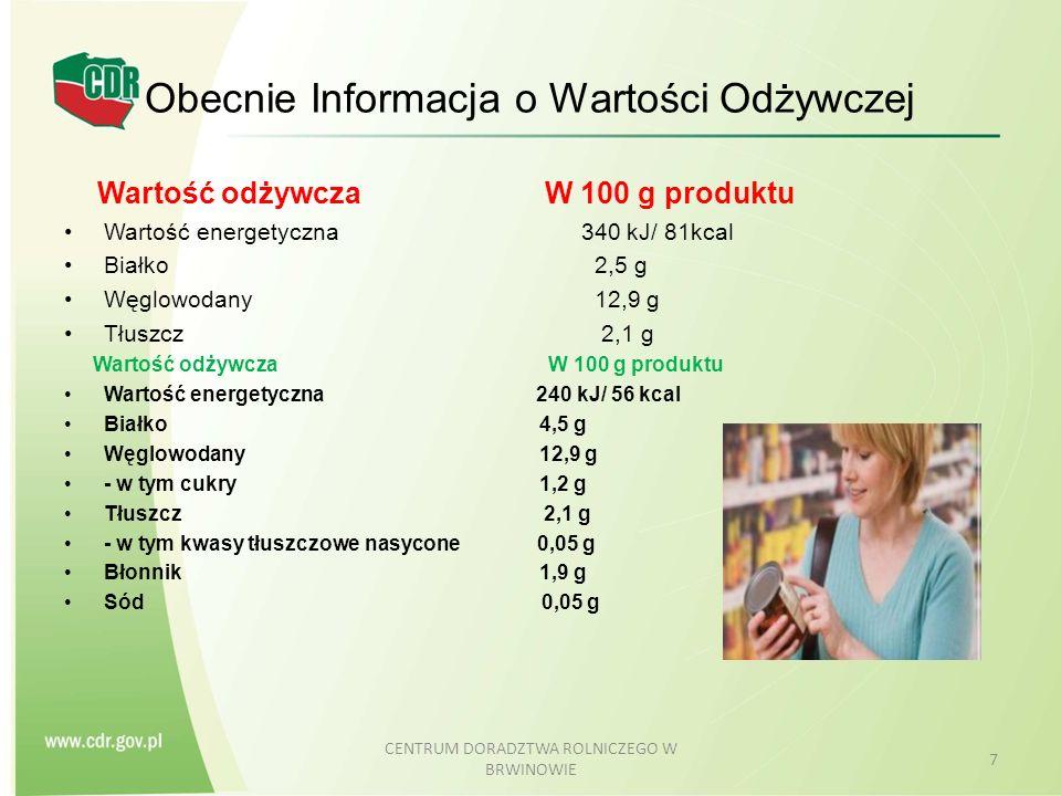 Obecnie Wartość odżywcza W 100 g produktu Wartość energetyczna 240 kJ/ 56 kcal Białko 4,5 g Węglowodany 12,9 g - w tym cukry 1,2 g Tłuszcz 2,1 g - w tym kwasy tłuszczowe nasycone 0,05 g Błonnik 1,9 g Sód poniżej 0,1 g CENTRUM DORADZTWA ROLNICZEGO W BRWINOWIE 8