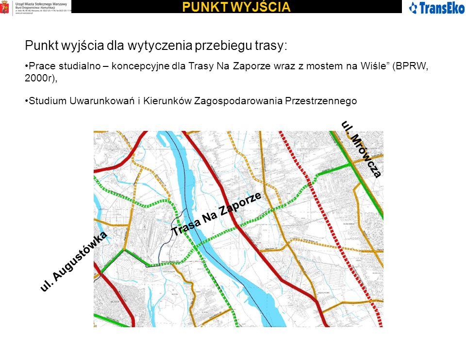 PUNKT WYJŚCIA Punkt wyjścia dla wytyczenia przebiegu trasy: Prace studialno – koncepcyjne dla Trasy Na Zaporze wraz z mostem na Wiśle (BPRW, 2000r), S