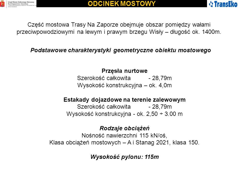 ODCINEK MOSTOWY Część mostowa Trasy Na Zaporze obejmuje obszar pomiędzy wałami przeciwpowodziowymi na lewym i prawym brzegu Wisły – długość ok. 1400m.
