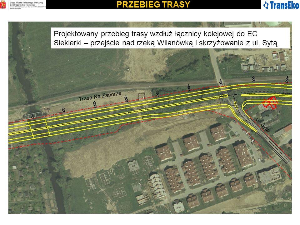 PRZEBIEG TRASY Projektowany przebieg trasy wzdłuż łącznicy kolejowej do EC Siekierki – przejście nad rzeką Wilanówką i skrzyżowanie z ul. Sytą
