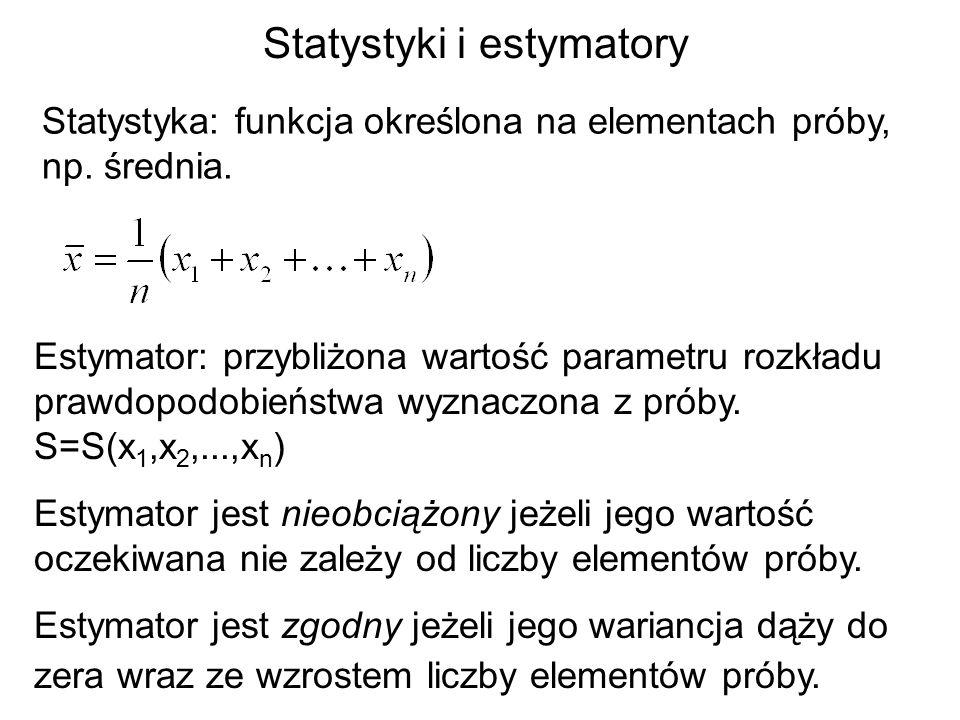 Statystyki i estymatory Statystyka: funkcja określona na elementach próby, np. średnia. Estymator: przybliżona wartość parametru rozkładu prawdopodobi