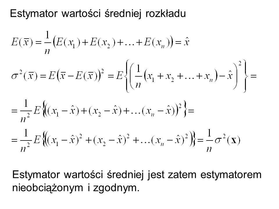 Estymator wartości średniej rozkładu Estymator wartości średniej jest zatem estymatorem nieobciążonym i zgodnym.