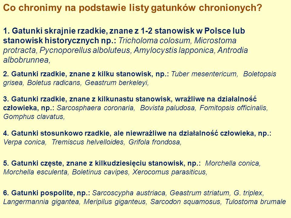 Co chronimy na podstawie listy gatunków chronionych? 1. Gatunki skrajnie rzadkie, znane z 1-2 stanowisk w Polsce lub stanowisk historycznych np.: Tric