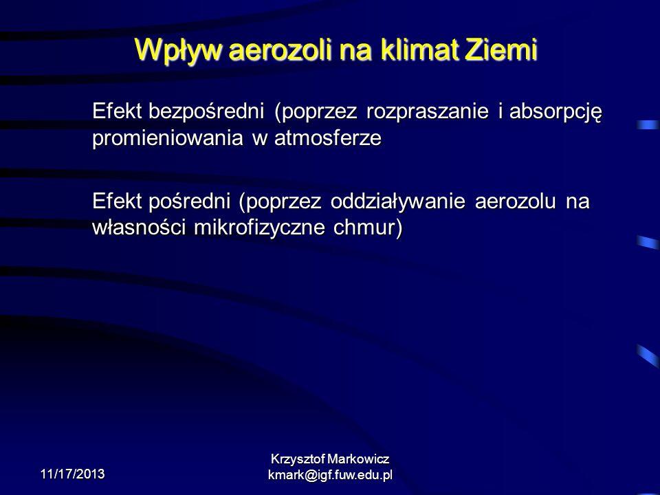 11/17/2013 Krzysztof Markowicz kmark@igf.fuw.edu.pl Wpływ aerozoli na klimat Ziemi Efekt bezpośredni (poprzez rozpraszanie i absorpcję promieniowania
