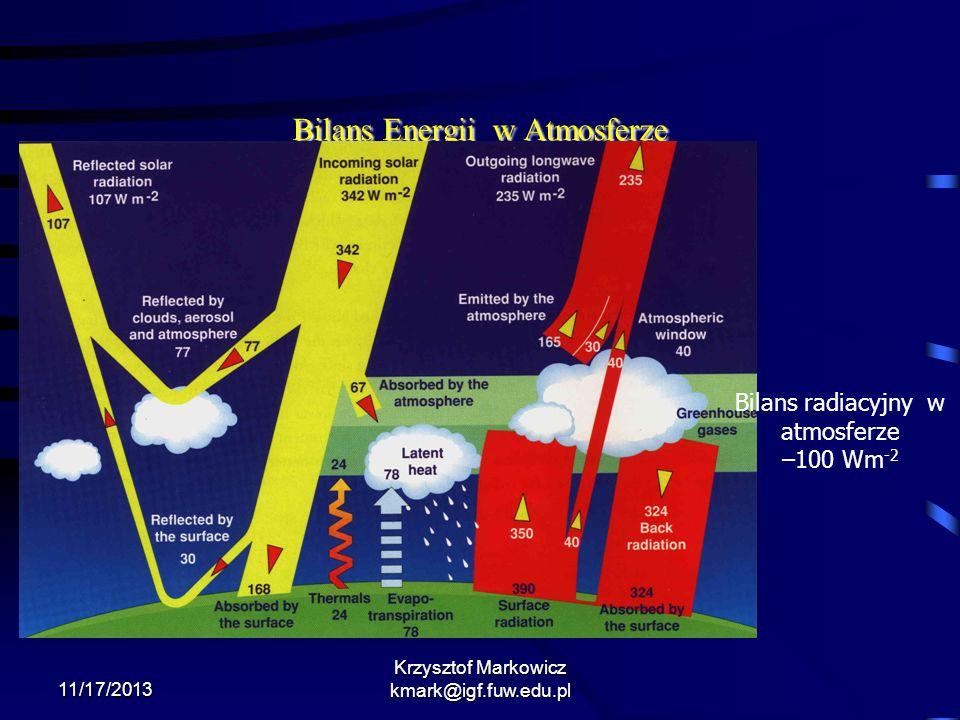 11/17/2013 Krzysztof Markowicz kmark@igf.fuw.edu.pl Bilans Energii w Atmosferze Bilans radiacyjny w atmosferze –100 Wm -2
