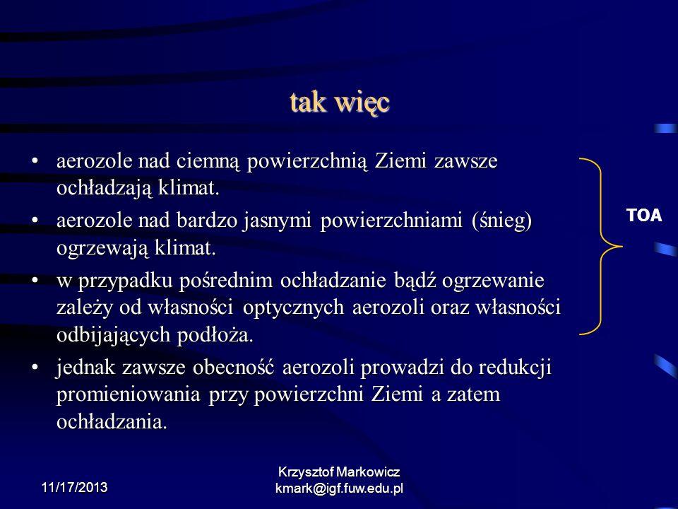 11/17/2013 Krzysztof Markowicz kmark@igf.fuw.edu.pl tak więc aerozole nad ciemną powierzchnią Ziemi zawsze ochładzają klimat.aerozole nad ciemną powie