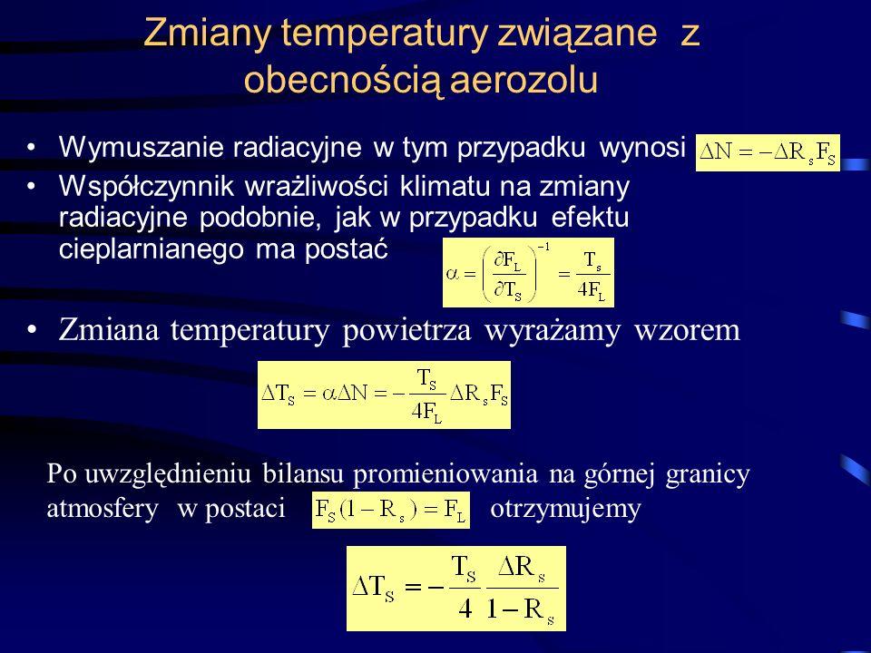 Zmiany temperatury związane z obecnością aerozolu Wymuszanie radiacyjne w tym przypadku wynosi Współczynnik wrażliwości klimatu na zmiany radiacyjne p