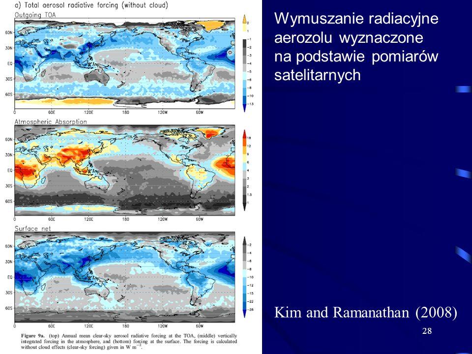 28 Kim and Ramanathan (2008) Wymuszanie radiacyjne aerozolu wyznaczone na podstawie pomiarów satelitarnych