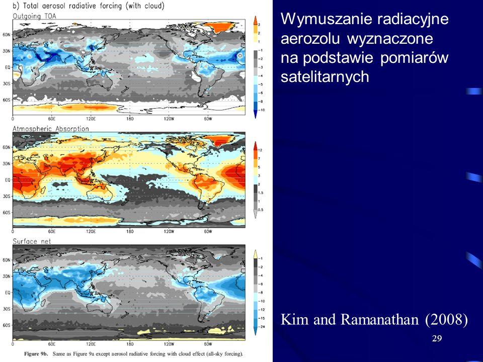 29 Kim and Ramanathan (2008) Wymuszanie radiacyjne aerozolu wyznaczone na podstawie pomiarów satelitarnych