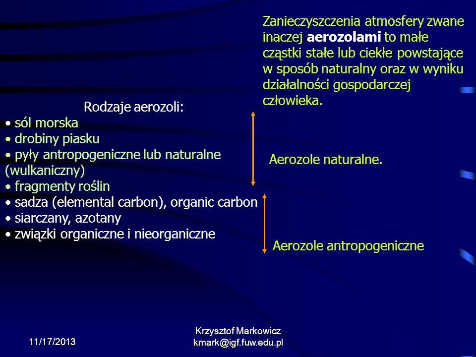 11/17/2013 Krzysztof Markowicz kmark@igf.fuw.edu.pl Zanieczyszczenia atmosfery zwane inaczej aerozolami to małe cząstki stałe lub ciekłe powstające w