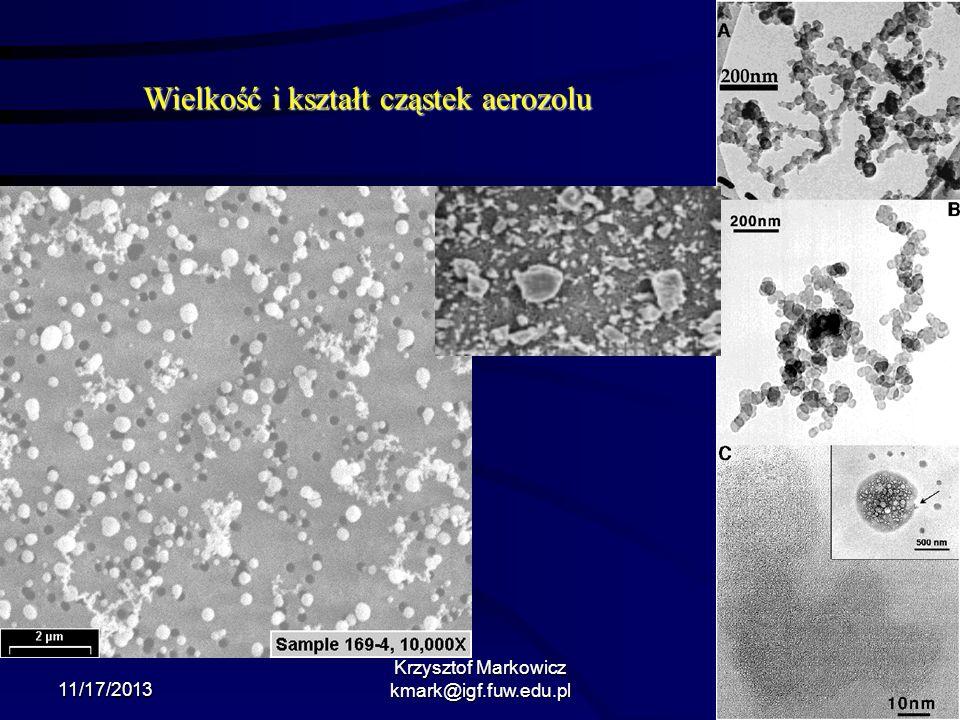11/17/2013 Krzysztof Markowicz kmark@igf.fuw.edu.pl Wielkość i kształt cząstek aerozolu