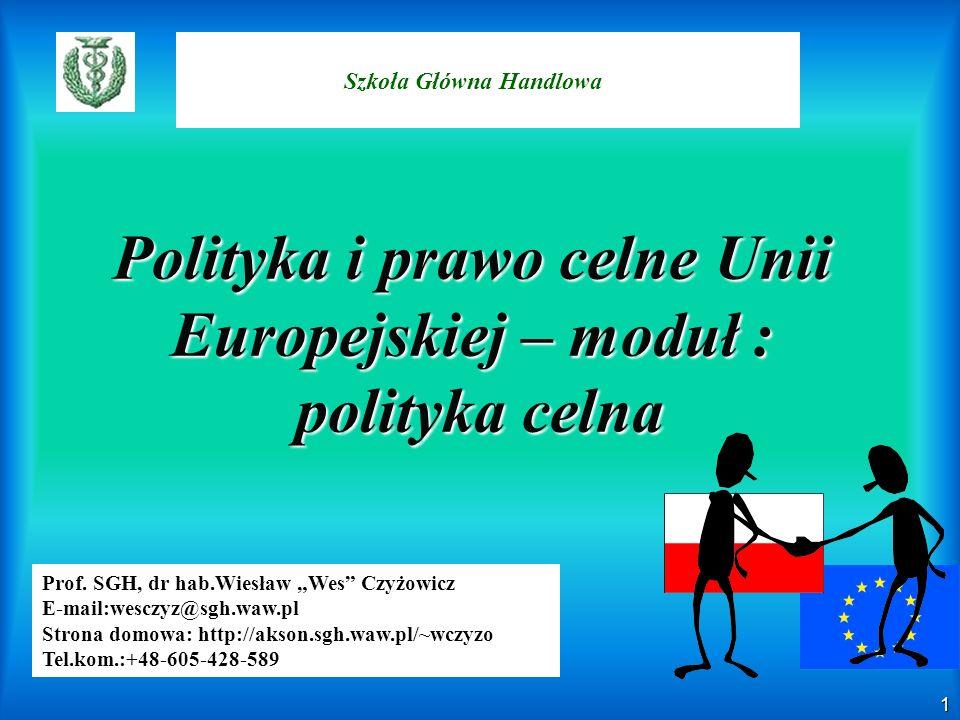 2 Zagadnienia Cel i znaczenie zajęć Metody,zakres i warunki zaliczenia przedmiotu Literatura i źródła – – Część I -Moduł teoretyczny – – Część II- Moduł prawny – – Część III – Wyzwania i przyszłość polityki oraz prawa celnego UE