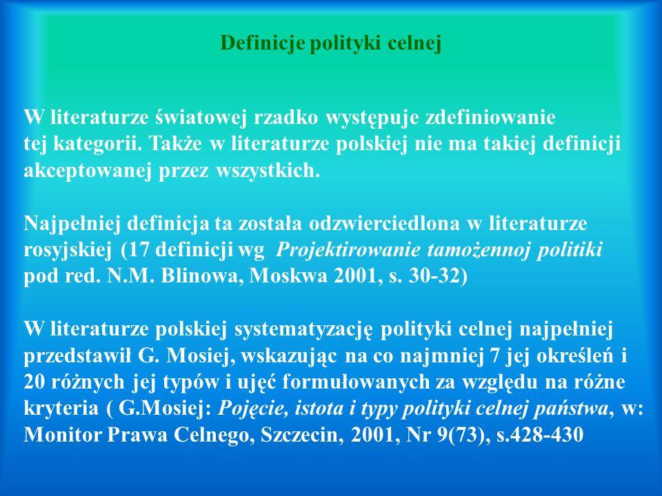 Definicje polityki celnej W literaturze światowej rzadko występuje zdefiniowanie tej kategorii. Także w literaturze polskiej nie ma takiej definicji a