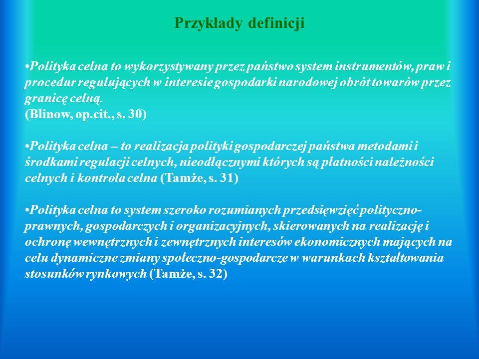 Przykłady definicji Polityka celna to wykorzystywany przez państwo system instrumentów, praw i procedur regulujących w interesie gospodarki narodowej obrót towarów przez granicę celną.