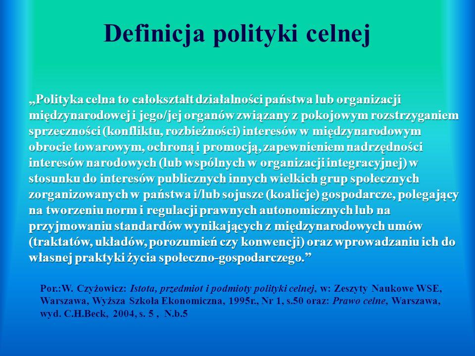 Polityka celna to całokształt działalności państwa lub organizacji międzynarodowej i jego/jej organów związany z pokojowym rozstrzyganiem sprzeczności