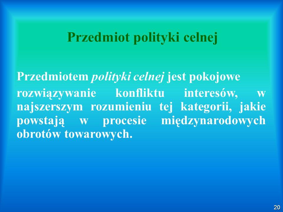 20 Przedmiot polityki celnej Przedmiotem polityki celnej jest pokojowe rozwiązywanie konfliktu interesów, w najszerszym rozumieniu tej kategorii, jaki