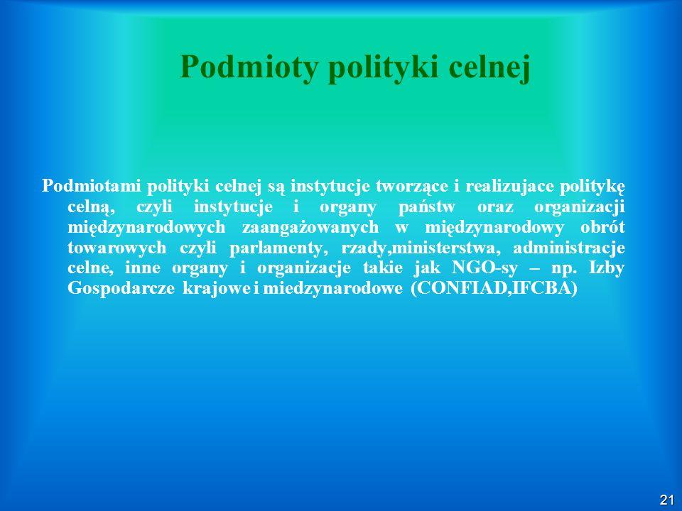21 Podmioty polityki celnej Podmiotami polityki celnej są instytucje tworzące i realizujace politykę celną, czyli instytucje i organy państw oraz organizacji międzynarodowych zaangażowanych w międzynarodowy obrót towarowych czyli parlamenty, rzady,ministerstwa, administracje celne, inne organy i organizacje takie jak NGO-sy – np.