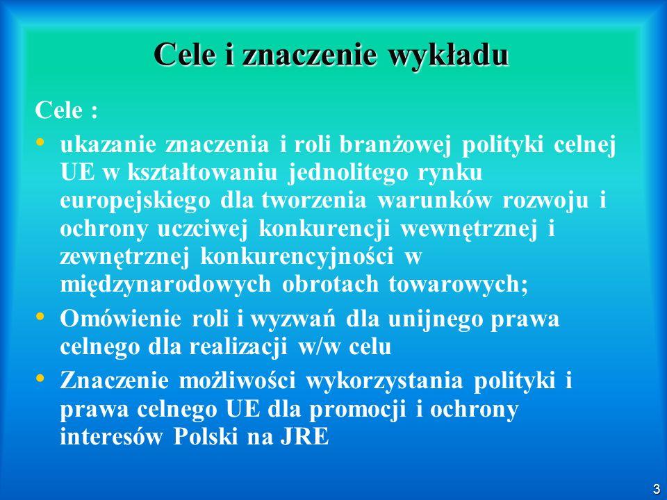 3 Cele i znaczenie wykładu Cele : ukazanie znaczenia i roli branżowej polityki celnej UE w kształtowaniu jednolitego rynku europejskiego dla tworzenia warunków rozwoju i ochrony uczciwej konkurencji wewnętrznej i zewnętrznej konkurencyjności w międzynarodowych obrotach towarowych; Omówienie roli i wyzwań dla unijnego prawa celnego dla realizacji w/w celu Znaczenie możliwości wykorzystania polityki i prawa celnego UE dla promocji i ochrony interesów Polski na JRE