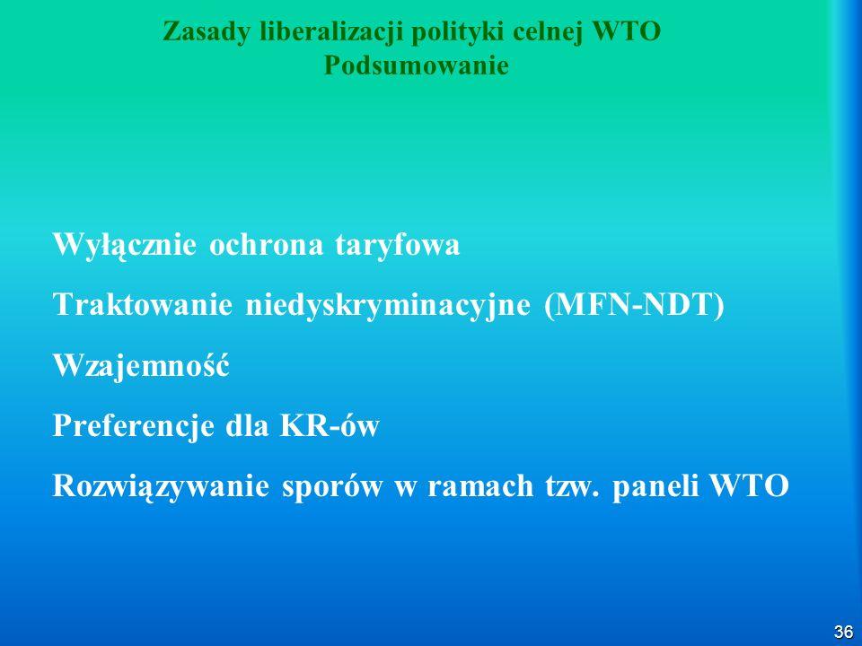 36 Zasady liberalizacji polityki celnej WTO Podsumowanie Wyłącznie ochrona taryfowa Traktowanie niedyskryminacyjne (MFN-NDT) Wzajemność Preferencje dla KR-ów Rozwiązywanie sporów w ramach tzw.
