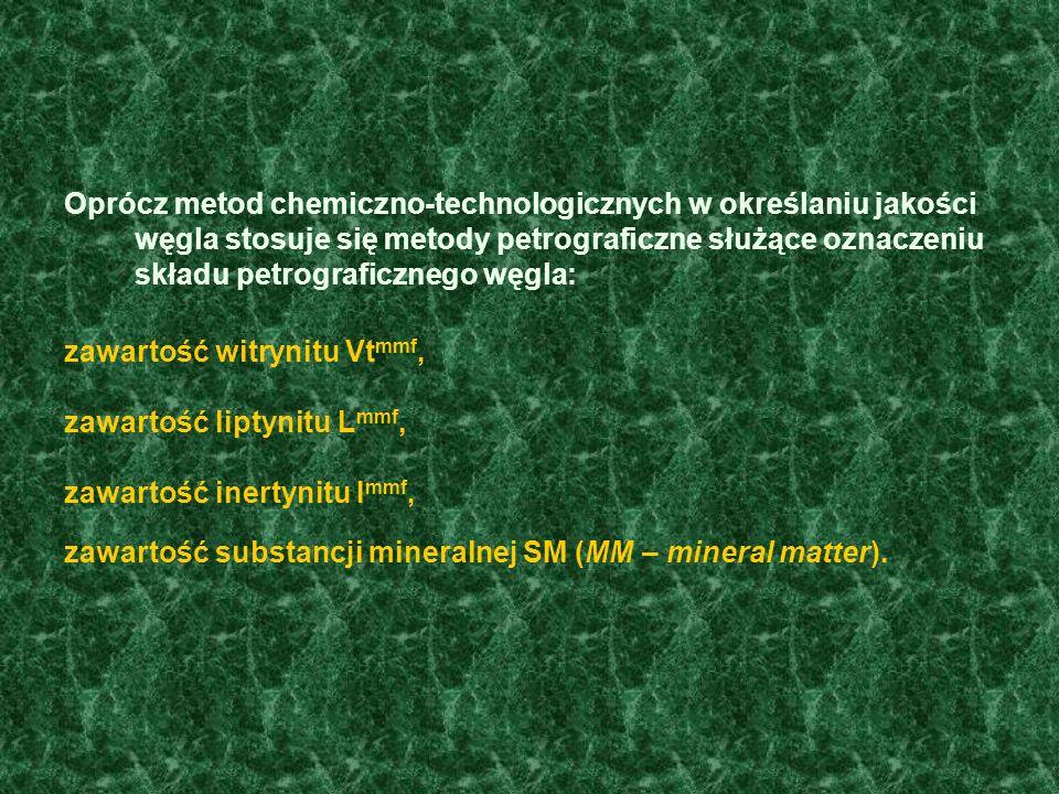 Oprócz metod chemiczno-technologicznych w określaniu jakości węgla stosuje się metody petrograficzne służące oznaczeniu składu petrograficznego węgla: zawartość witrynitu Vt mmf, zawartość liptynitu L mmf, zawartość inertynitu I mmf, zawartość substancji mineralnej SM (MM – mineral matter).