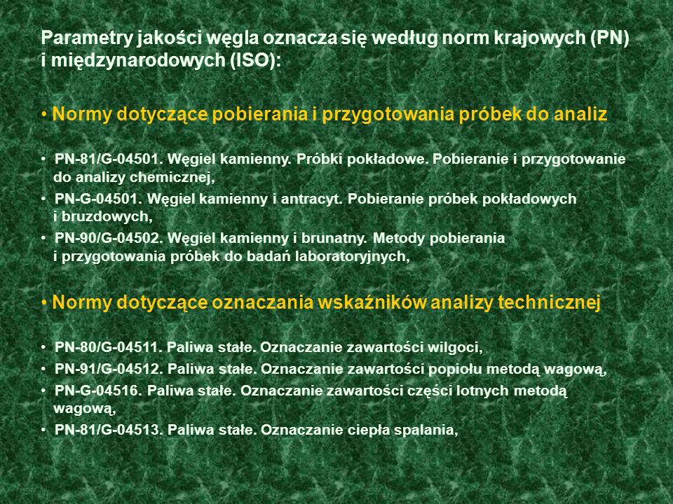 Parametry jakości węgla oznacza się według norm krajowych (PN) i międzynarodowych (ISO): Normy dotyczące pobierania i przygotowania próbek do analiz PN-81/G-04501.