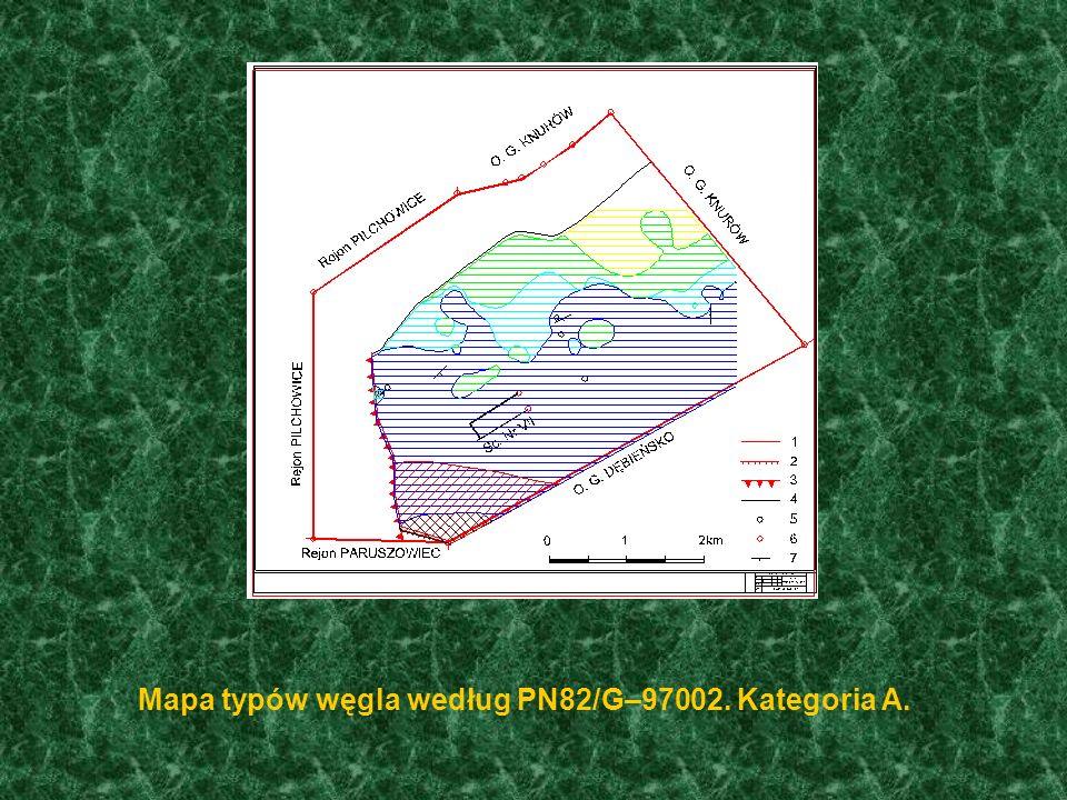 Mapa typów węgla według PN82/G–97002. Kategoria A.