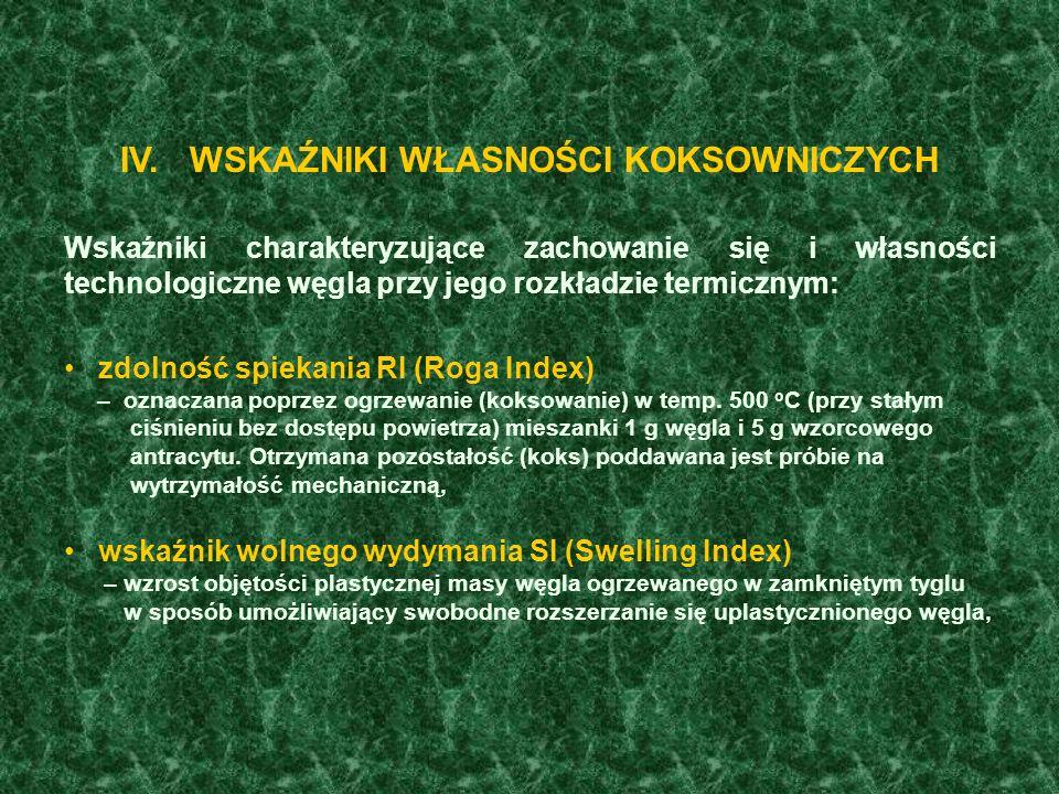 W standardach międzynarodowych (Międzynarodowy system kodyfikacji węgla ECE, Genewa 1998) uwzględnia się ponadto wartość średniej refleksyjności witrynitu R r, skład petrograficzny (zawartość Vt mmf, L mmf, I mmf ), zawartość popiołu A d, zawartość siarki całkowitej S t d.